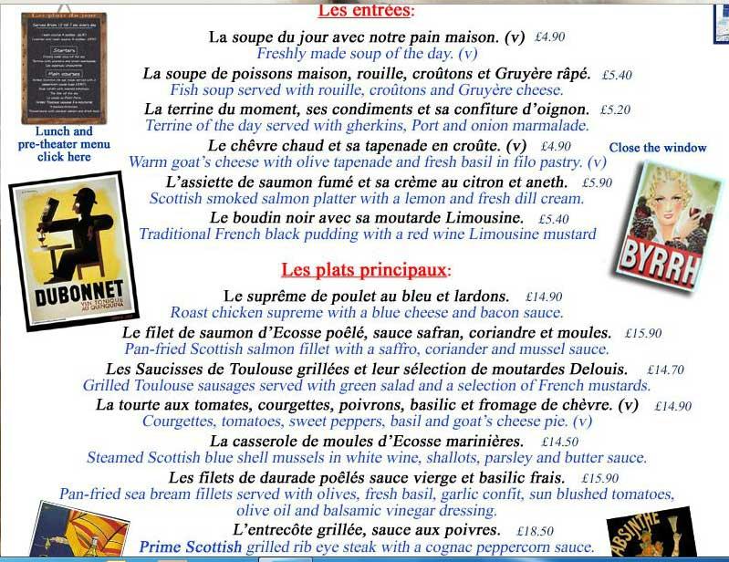 petit paris restaurant wine food grassmarket menu