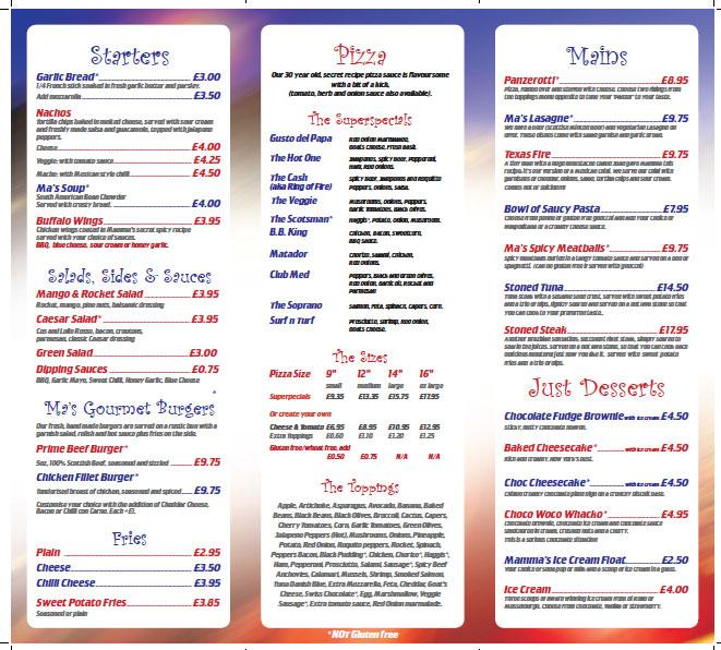 mammas pizza grassmarket menu
