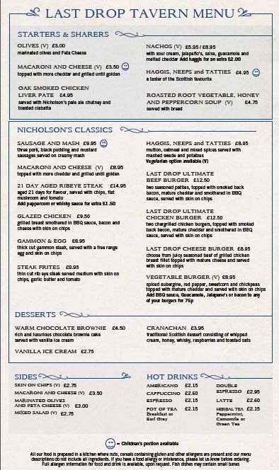 last drop menu grassmarker pub food ale house edinburgh